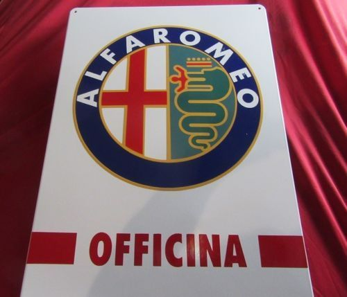 "Alfa Romeo enamel plate / sign design "" OFFICINA "" 500 x 700 mm NEW"